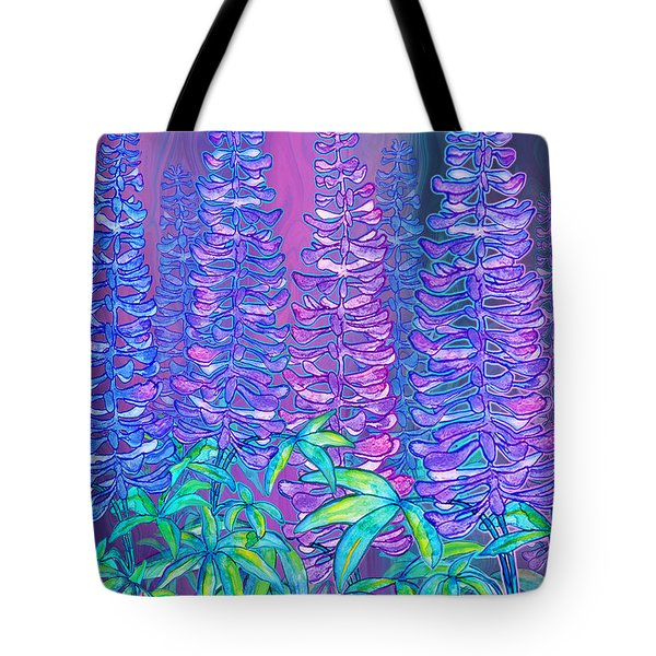Tote Bag featuring the mixed media Lupines by Teresa Ascone