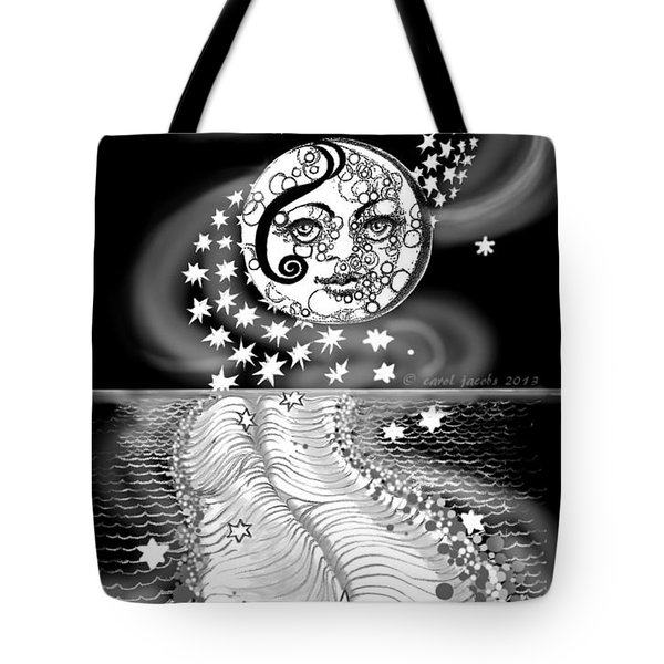 Tote Bag featuring the digital art Lure Of Moonlight by Carol Jacobs
