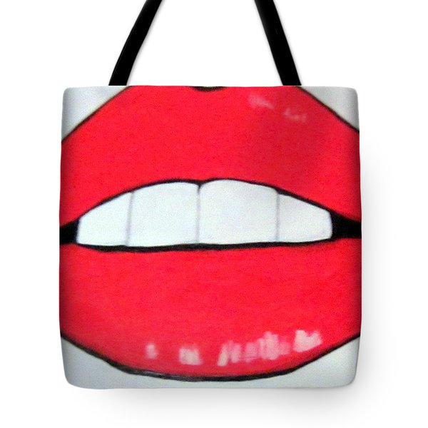 Tote Bag featuring the painting Luscious Lips by Nora Shepley