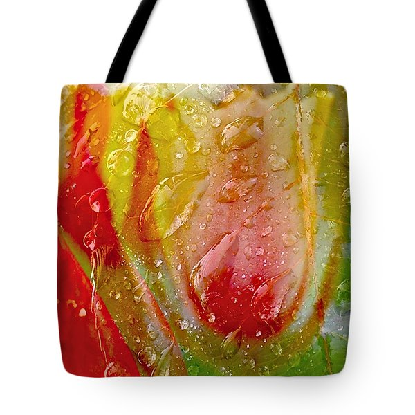 Tote Bag featuring the photograph Luscious Tulips - Waterdrops Series by Patricia Strand