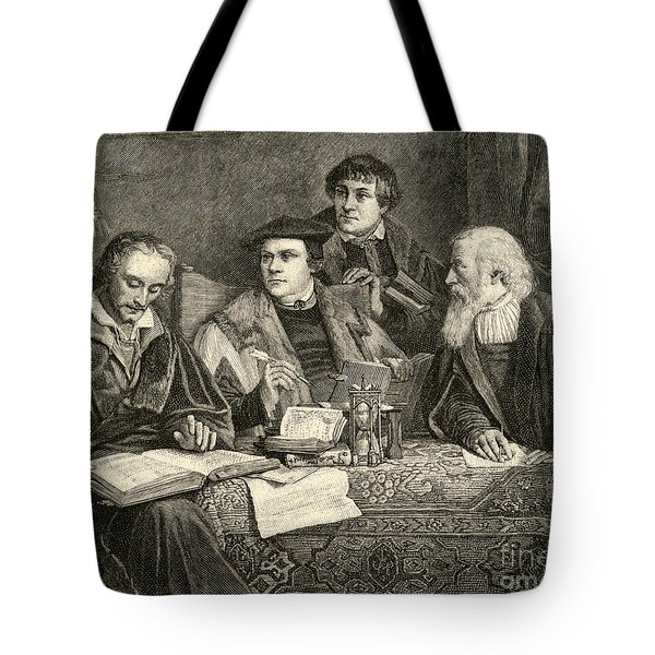 Luther Melancthon Pomeranus And Cruciger Translating  Tote Bag by English School