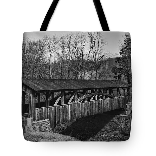 Luther's Mill Covered Bridge Black And White Tote Bag