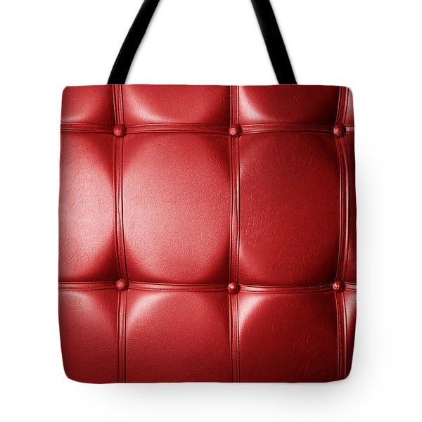 Luxury Genuine Leather. Red Color Tote Bag by Michal Bednarek