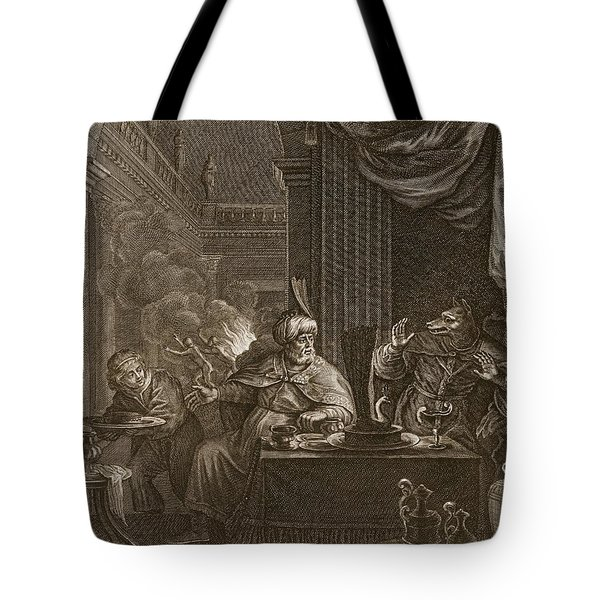 Lycaon Metamorphosed Into A Wolf, 1731 Tote Bag by Bernard Picart