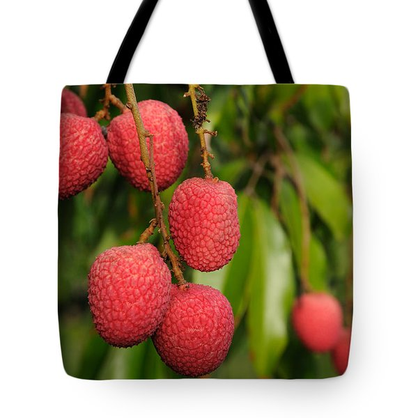 Lychee Fruit On Tree Tote Bag
