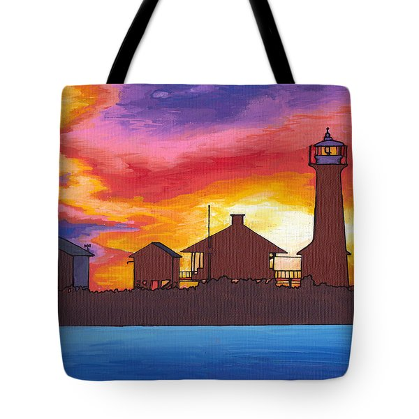 Lydia Anne Lighthouse At Sunset Tote Bag