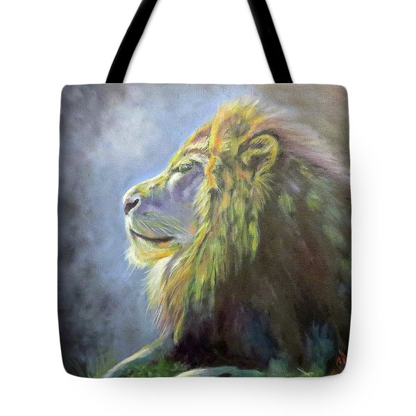 Lying In The Moonlight, Lion Tote Bag