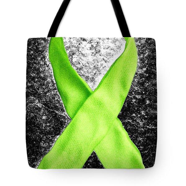 Lyme Disease Awareness Ribbon Tote Bag by Luke Moore