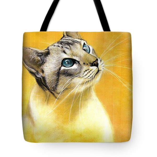 Tote Bag featuring the drawing Lynx Point Siamese by VLee Watson