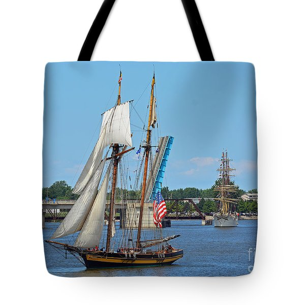 Lynx Topsail Schooner Tote Bag by Rodney Campbell