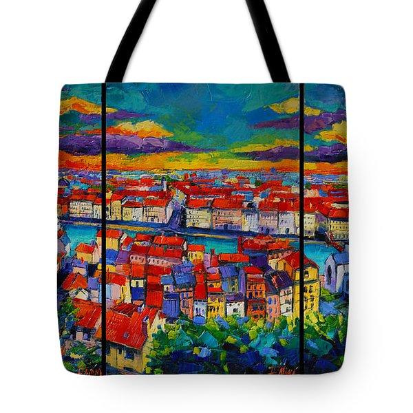 Lyon Panorama Triptych Tote Bag