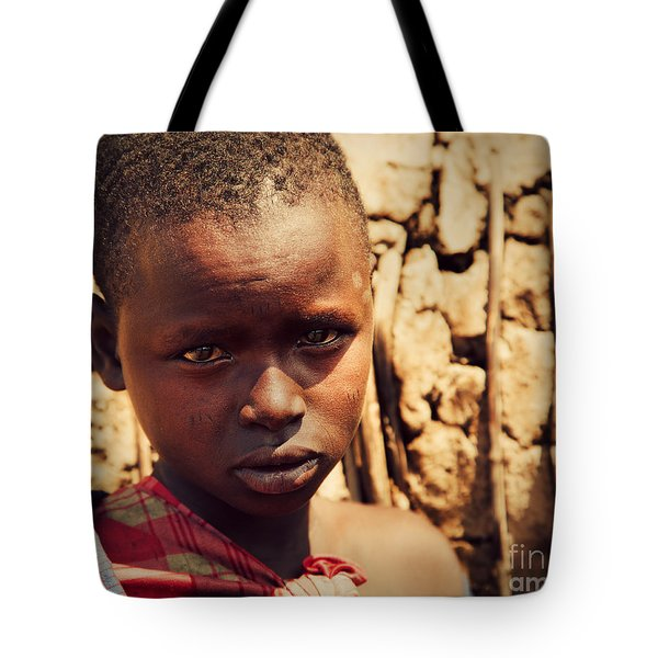 Maasai Child Portrait In Tanzania Tote Bag by Michal Bednarek