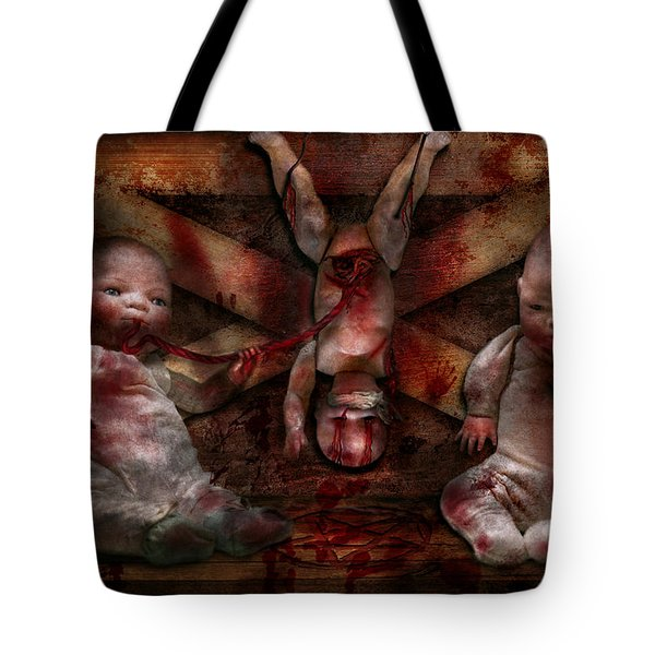 Macabre - Dolls - Having A Friend For Dinner Tote Bag by Mike Savad