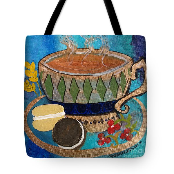 Tote Bag featuring the painting Macaroons And Tea by Robin Maria Pedrero