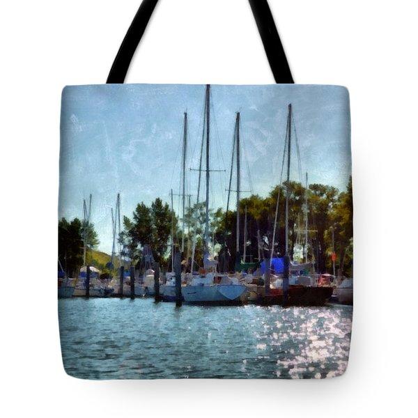 Macatawa Masts Tote Bag by Michelle Calkins