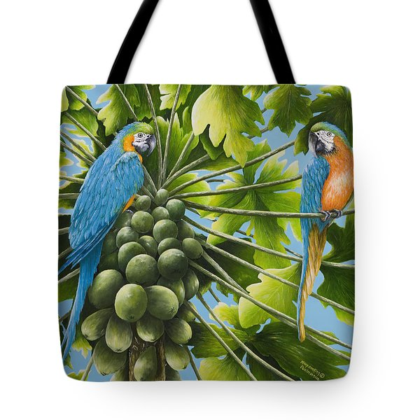 Macaw Parrots In Papaya Tree Tote Bag