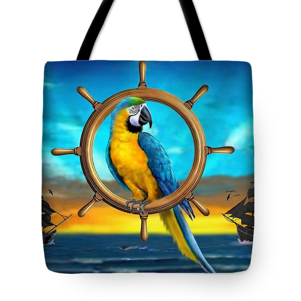 Macaw Pirate Parrot Tote Bag