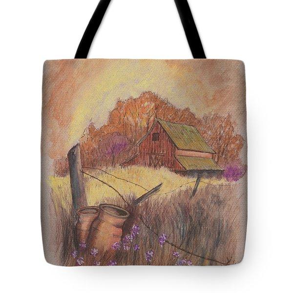 Tote Bag featuring the drawing Macgregors Barn Pstl by Carol Wisniewski