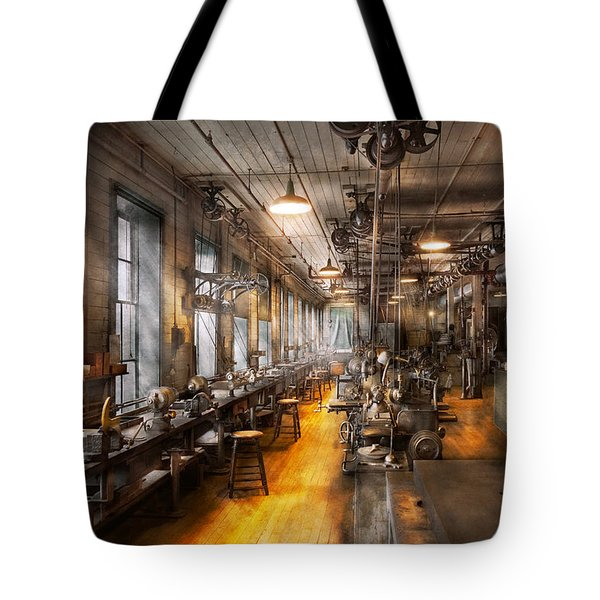 Machinist - Santa's Old Workshop Tote Bag by Mike Savad