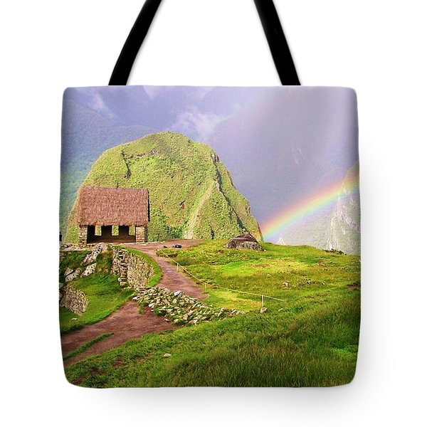 Machu Picchu Rainbow Tote Bag by Michele Penner
