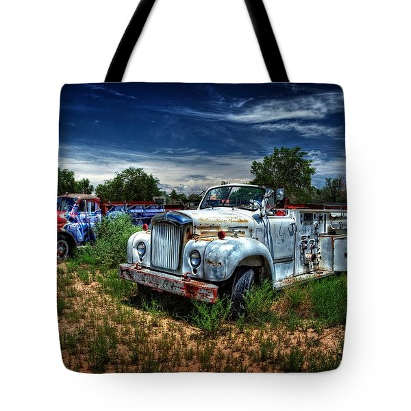 Tote Bag featuring the photograph Mack Fire Truck And Graffiti Fire Truck by Ken Smith