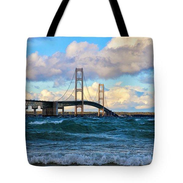 Mackinac Among The Waves Tote Bag