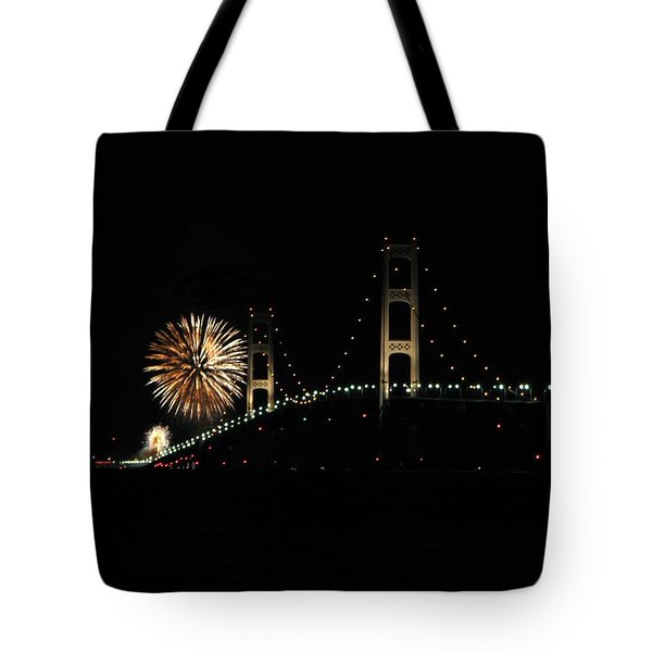 Mackinac Bridge 50th Anniversary Fireworks Tote Bag by Keith Stokes