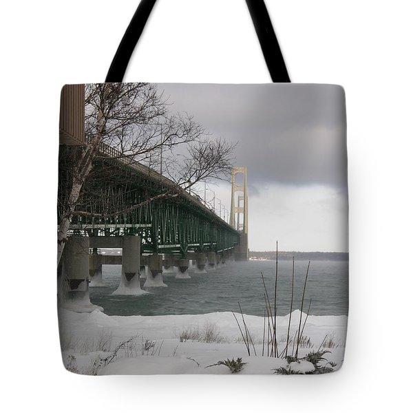 Mackinac Bridge At Christmas Tote Bag by Keith Stokes