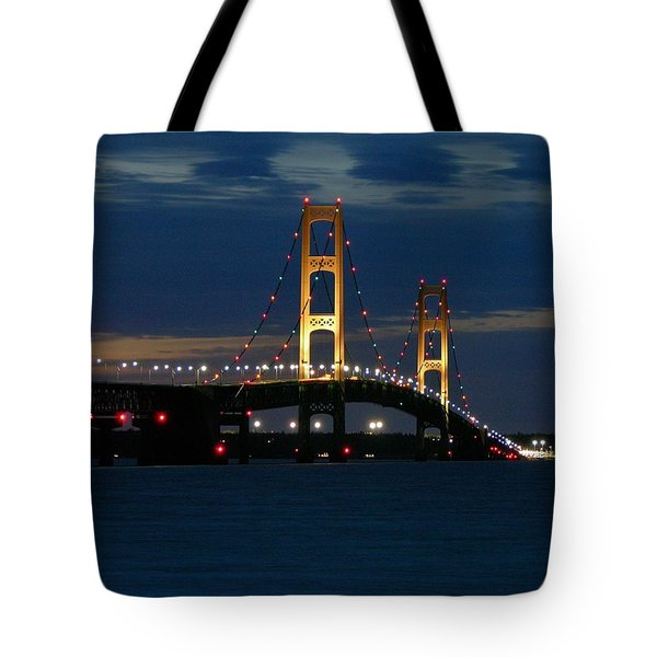 Mackinac Bridge At Dusk Tote Bag
