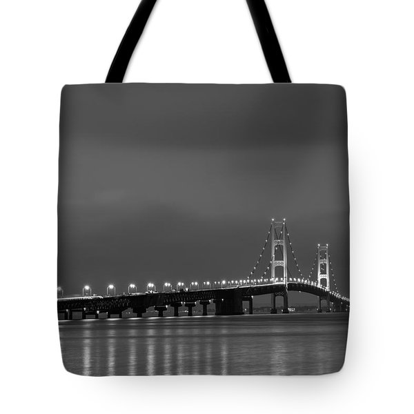 Mackinac Bridge Black And White Tote Bag by Sebastian Musial