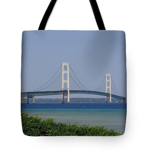 Mackinac Bridge Blue Tote Bag by Keith Stokes