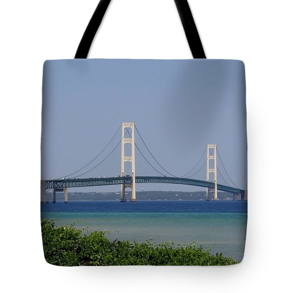 Mackinac Bridge Blue Tote Bag