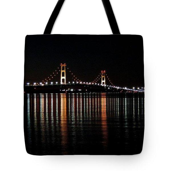 Mackinac Bridge Lights Tote Bag