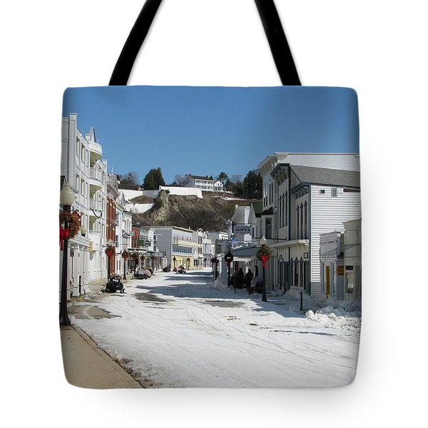 Mackinac Island In Winter Tote Bag by Keith Stokes