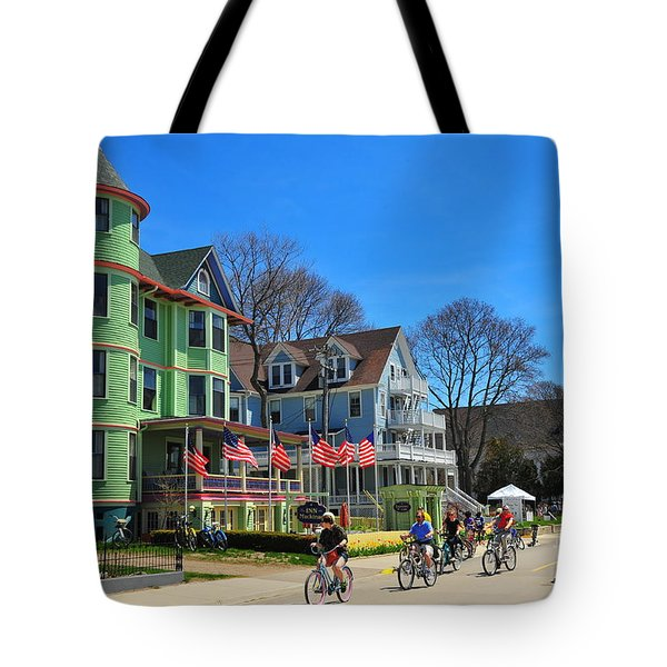 Mackinac Island Waterfront Street Tote Bag by Terri Gostola
