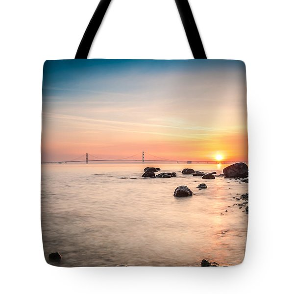 Tote Bag featuring the photograph Mackinac Sunrise by Larry Carr