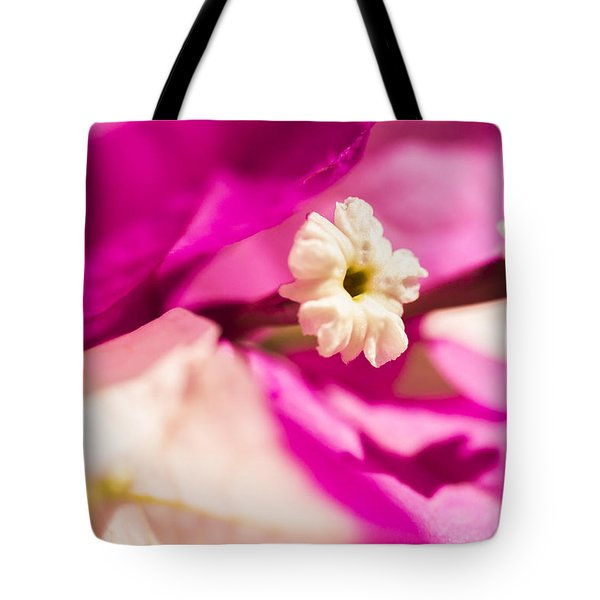 Tote Bag featuring the photograph Macro Bougainvillea Bloom 2 by Leigh Anne Meeks