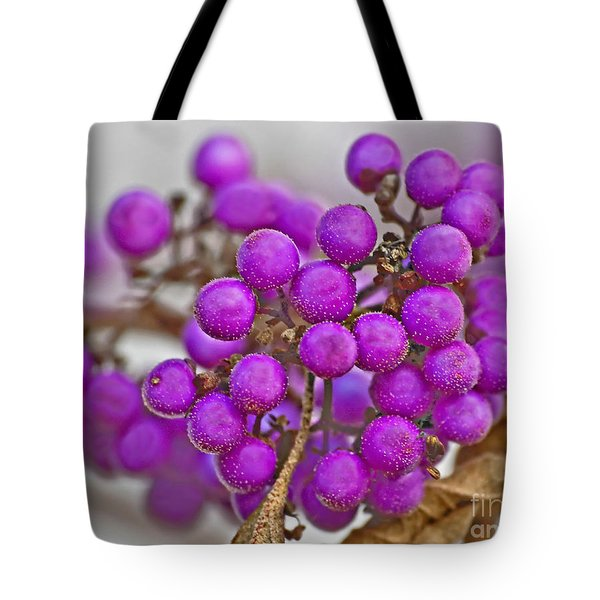 Tote Bag featuring the photograph Macro Of Purple Beautyberries Callicarpa Plant Art Prints by Valerie Garner