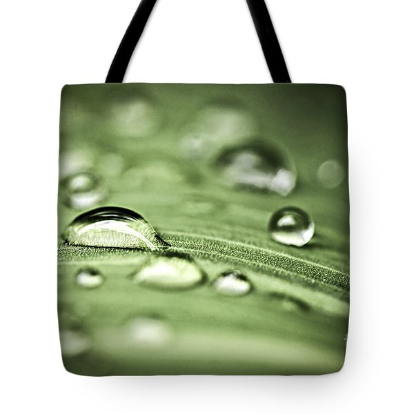 Macro Raindrops On Green Leaf Tote Bag