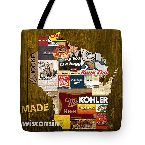 Made In Wisconsin Products Vintage Map On Wood Tote Bag by Design Turnpike
