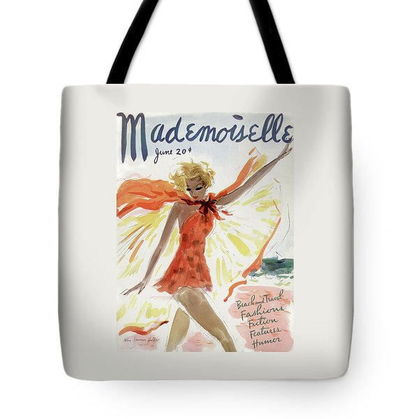 Mademoiselle Cover Featuring A Model At The Beach Tote Bag