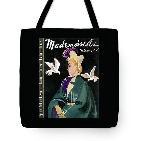 Mademoiselle Cover Featuring A Model In A Green Tote Bag