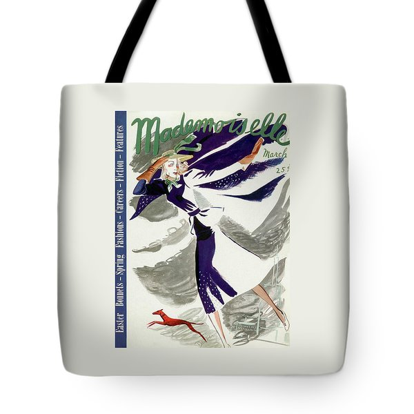 Mademoiselle Cover Featuring A Model With A Dog Tote Bag