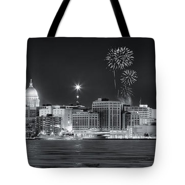 Madison - Wisconsin -  New Years Eve Panorama Black And White Tote Bag