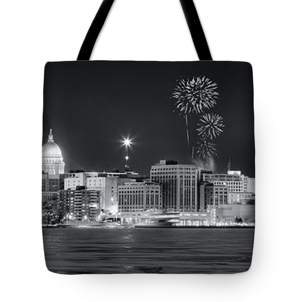 Madison - Wisconsin -  New Years Eve Panorama Black And White Tote Bag by Steven Ralser