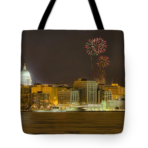 Madison Skyline New Years Eve Tote Bag