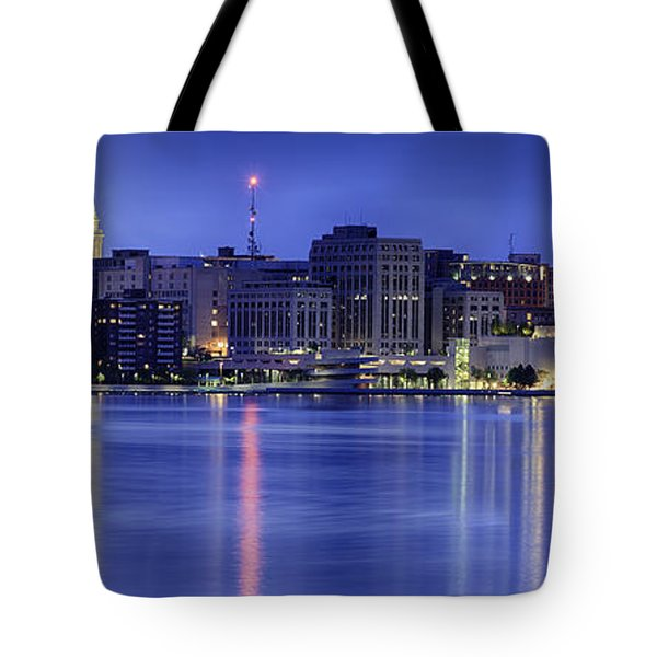 Tote Bag featuring the photograph Madison Skyline Reflection by Sebastian Musial
