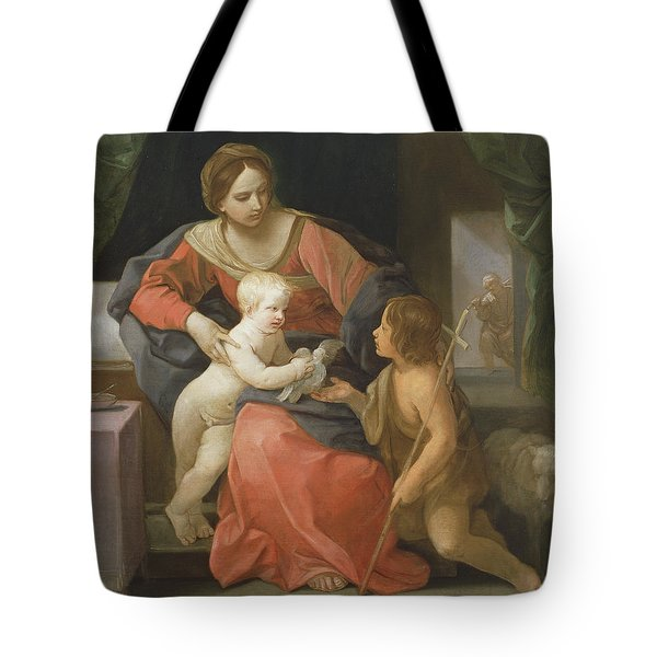 Madonna And Child With Saint John The Baptist Tote Bag by Guido Reni