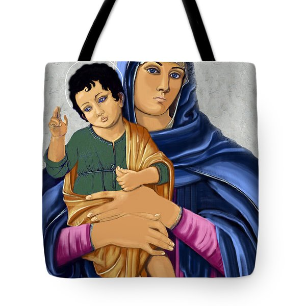 Tote Bag featuring the painting Madonna With Child Blessing by Karon Melillo DeVega
