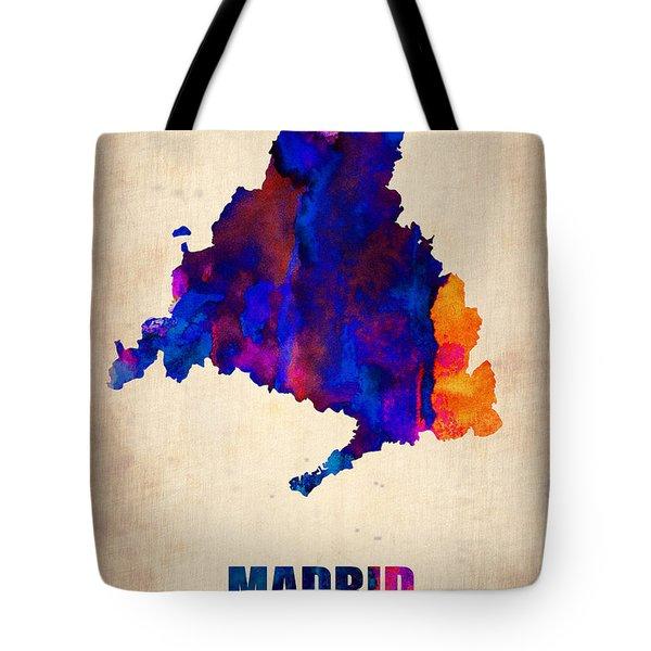 Madrid Watercolor Map Tote Bag by Naxart Studio